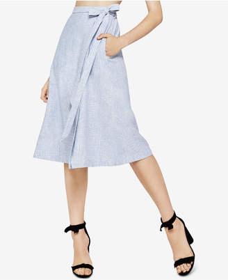 BCBGeneration Candy-Stripe Faux-Wrap Midi Skirt