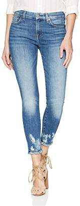 7 For All Mankind Women's Ankle Skinny Jean with Bleach Holes at Hem