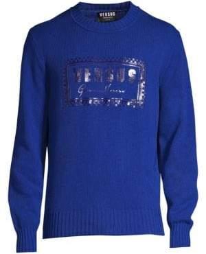 Versace Men's Bordered Logo Sweaters - Cobalt - Size 48 (38)