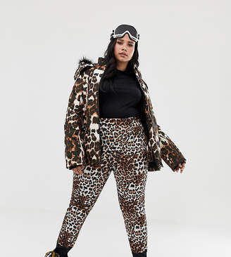 Asos 4505 Curve SKI mix and match pants in super slim fit in leopard print