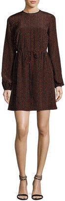 Diane von Furstenberg Long-Sleeve Polka-Dot Silk Mini Dress, Red $398 thestylecure.com