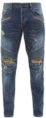 Balmain Distressed Straight Leg Biker Jeans - Mens - Blue
