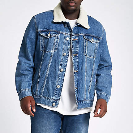 River Island Big and Tall blue borg lined denim jacket