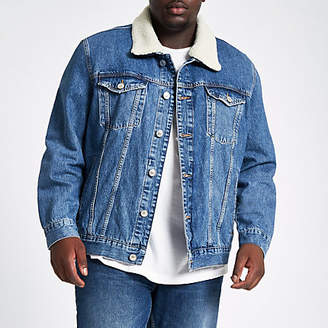 River Island Big and Tall blue fleece lined denim jacket
