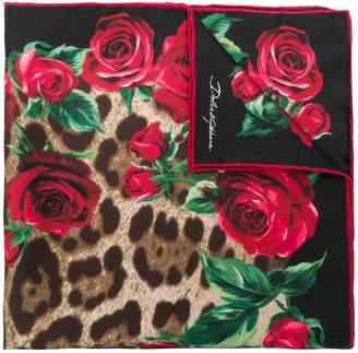 Dolce & Gabbana leopard rose print square scarf