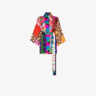 e5da8d3025 at Browns Fashion Rianna + Nina short multi fish polka dot print silk  kimono robe