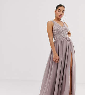 0d72de70ed Asos DESIGN Petite maxi dress with geometric embellishment and sheer panels