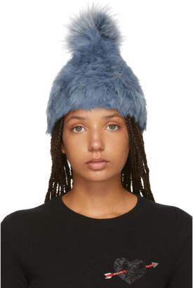 Yves Salomon Blue Knitted Rabbit Pom Pom Beanie