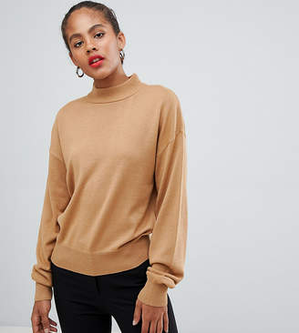 Asos Tall DESIGN Tall eco sweater in loose fit with turtleneck and balloon sleeve