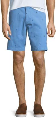Tailorbyrd Flamingo-Print Cotton-Twill Shorts