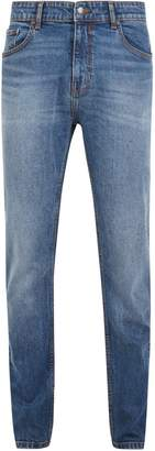 Burton Mens Light Wash Carter Travis Relaxed Tapered Fit Jeans