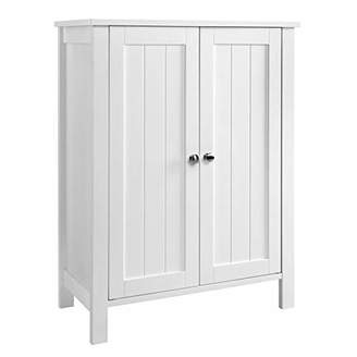 VASAGLE Bathroom Floor Storage Cabinet with Double Door Adjustable Shelf White UBCB60W