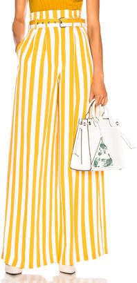 Maison Margiela Belted Striped Wide Leg Pants