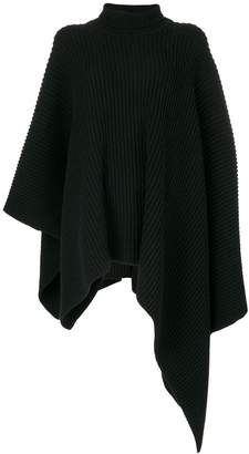 Jil Sander asymmetric ribbed roll neck poncho