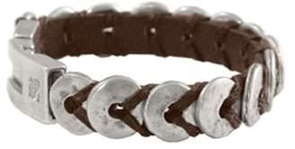 Uno de 50 unisex leather bracelet with Metal Mix including15 micron silver - PUL0012MAR H