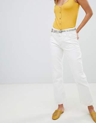 MANGO kick flare contrast stitch jeans in white