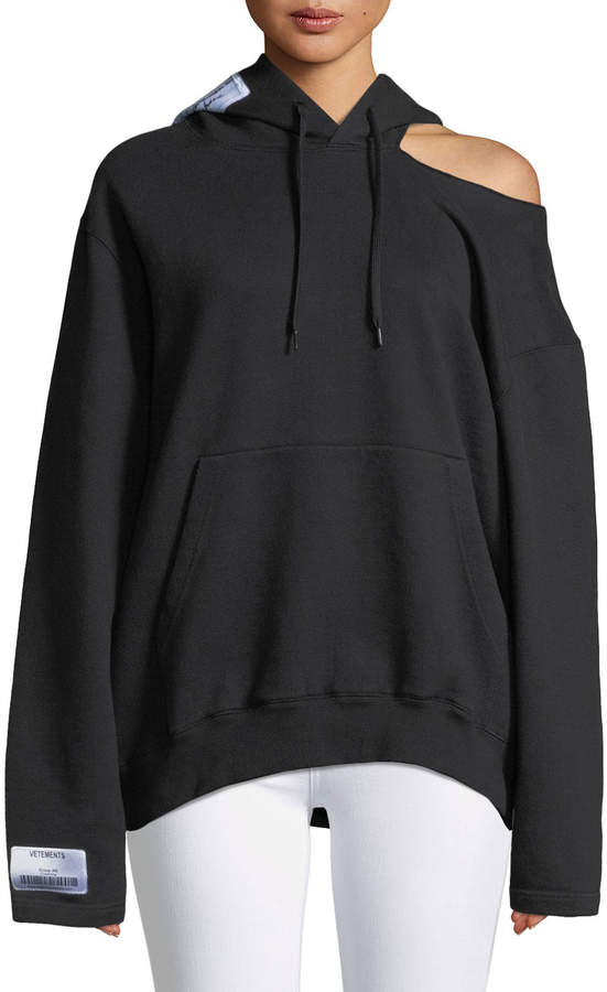 Vetements Open-Shoulder Long-Sleeve Hooded Sweatshirt w/ Patch Detail