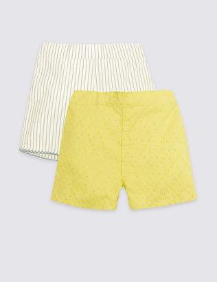 Marks and Spencer 2 Pack Pure Cotton Broderie Shorts