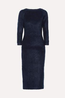 Prada Mohair-blend Midi Dress - Navy
