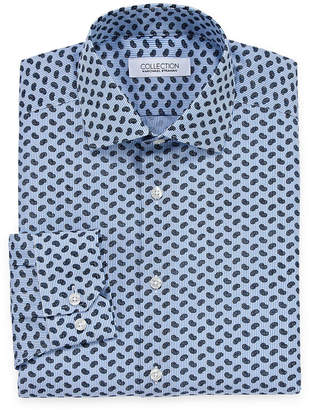COLLECTION Collection by Michael Strahan Wrinkle Free Cotton Stretch Big And Tall Long Sleeve Woven Paisley Dress Shirt