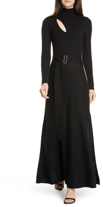 Nicholas Cutout Long Sleeve Belted Wool & Cotton Dress