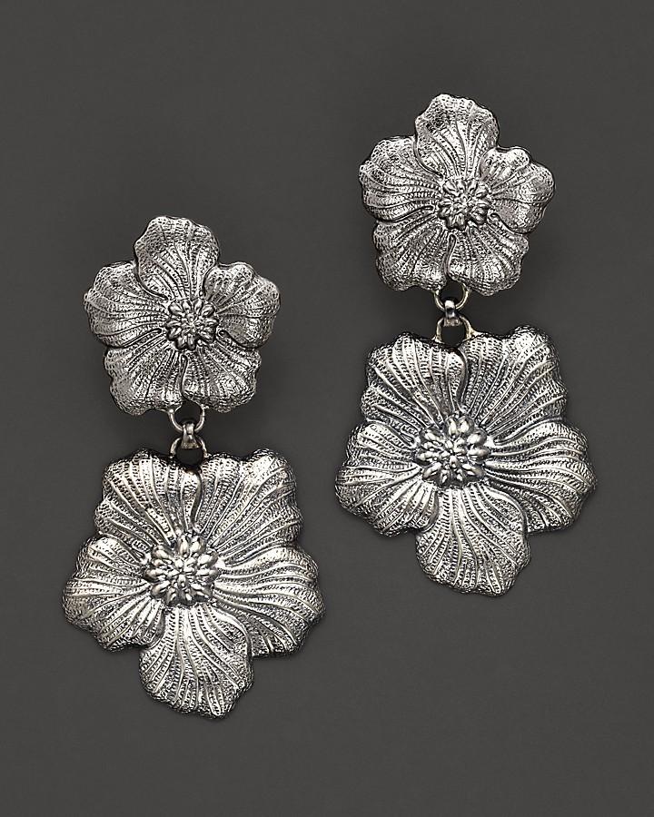 "Buccellati Blossom"" 1 Small 1 Medium Flower Pendant Earrings"