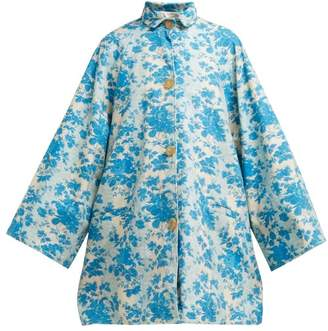 By Walid Poppy Floral Print Cotton Coat - Womens - Blue Print