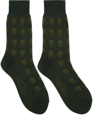 Alexander McQueen Green Short Skull Socks