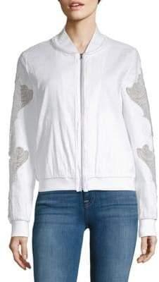 Zandra Baseball Collar Lace-Sleeve Jacket