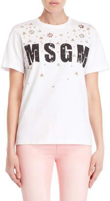 MSGM White Embellished Logo Tee