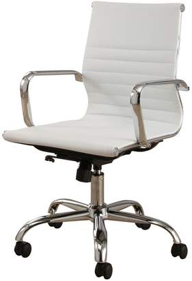 Abbyson Living Samuel White Silver Finish Faux Leather Office Chair
