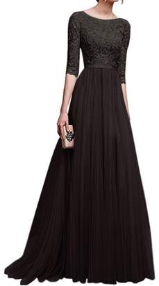 Zilcremo Women Elegant Lace Patchwork Chiffon Flared Swing Maxi Evening Dress M