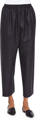 eskandar Japanese Tapered-Leg Cropped Trousers, Charcoal