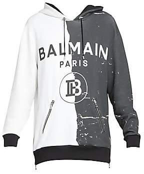 Balmain Men's Half Print Side-Zip Hoodie