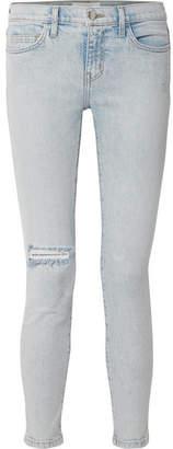 Current/Elliott The Stiletto Distressed Mid-rise Skinny Jeans - Light denim