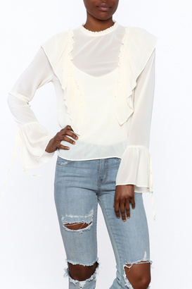Cotton Candy Ruffle Tie Blouse $39 thestylecure.com