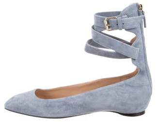 Valentino Suede Ankle-Strap Flats