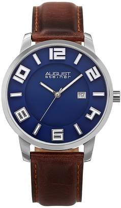 August Steiner Men's Brown Leather Watch