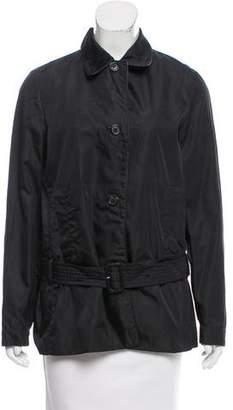 Prada Leather-Trimmed Belted Jacket