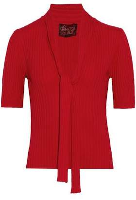 Giambattista Valli Pussy-bow Ribbed Wool, Silk And Cashmere-blend Sweater
