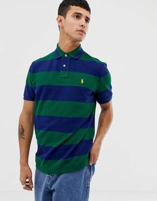 Polo Ralph Lauren custom regular fit block stripe pique polo in green/navy