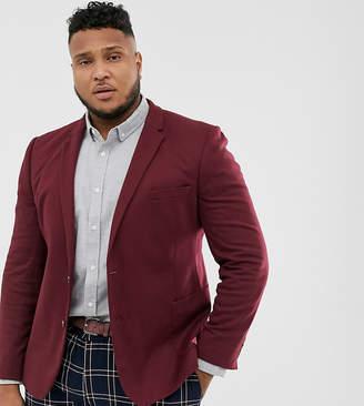 Asos Design DESIGN Plus super skinny jersey blazer in burgundy