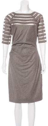 Lela Rose Virgin Wool Mesh-Trimmed Dress