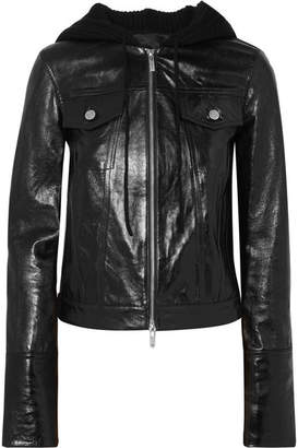 Helmut Lang Hooded Glossed Textured-leather And Ribbed Wool-blend Jacket - Black