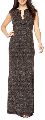Onyx Nites Short Sleeve Embellished Glitter Knit Evening Gown