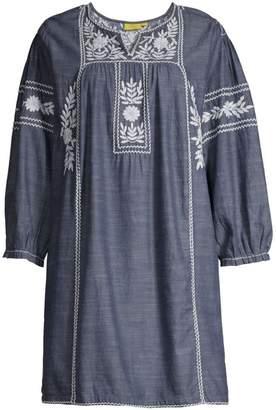 Roller Rabbit Abigail Embroidered Denim Dress