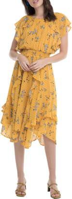 ASTR the Label Sheila Clip Dot Floral Print Ruffle Dress