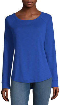 Liz Claiborne Womens Scoop Neck Long Sleeve T-Shirt