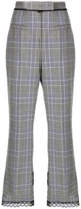 MSGM lace trim bootcut check trousers
