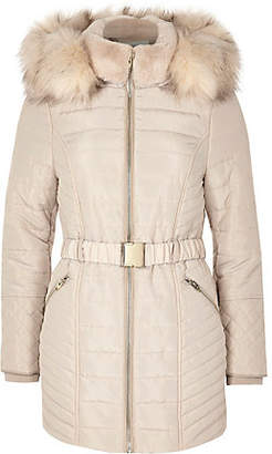 River Island Womens Petite Cream faux fur belted padded coat